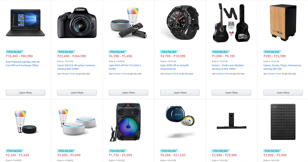 Amazon prime day sales 2020 india deals and offers electronics